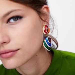Colorful Long Enamel Crystal Drop Earrings Bohemia
